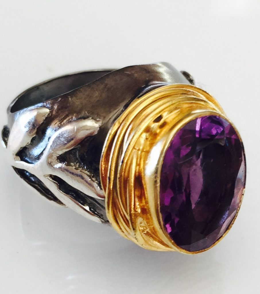 Amethyst Stem Ring from Marlena Winiarska Jewelry Designer