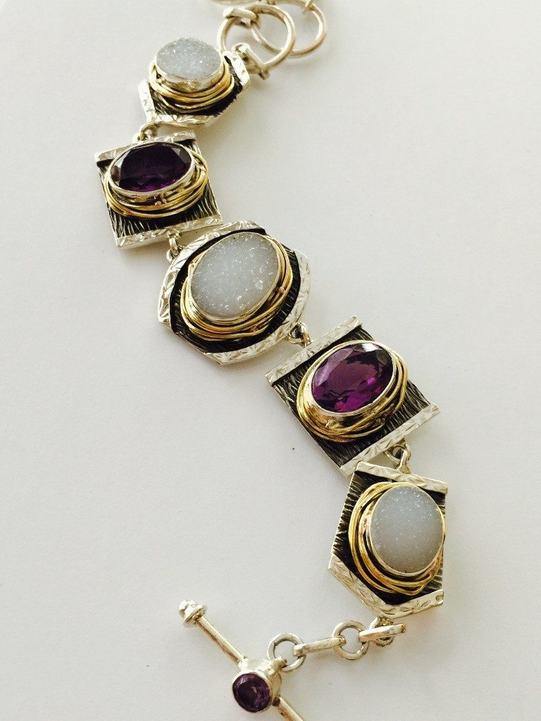 Amethyst and Drusy Bracelet from Marlena Winiarska of Stems and Gems