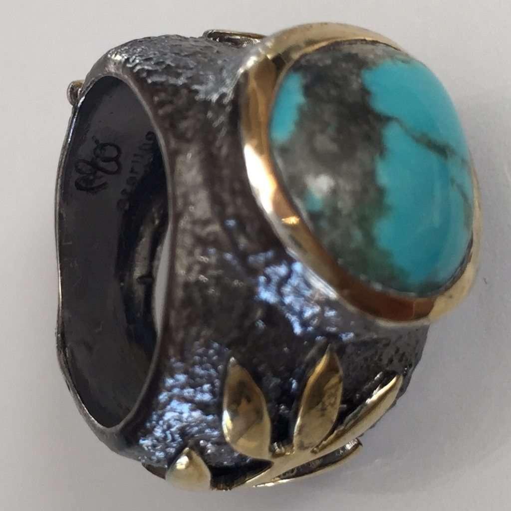 Blue Kingman Turquoise Stem Ring by Marlena Winiarska