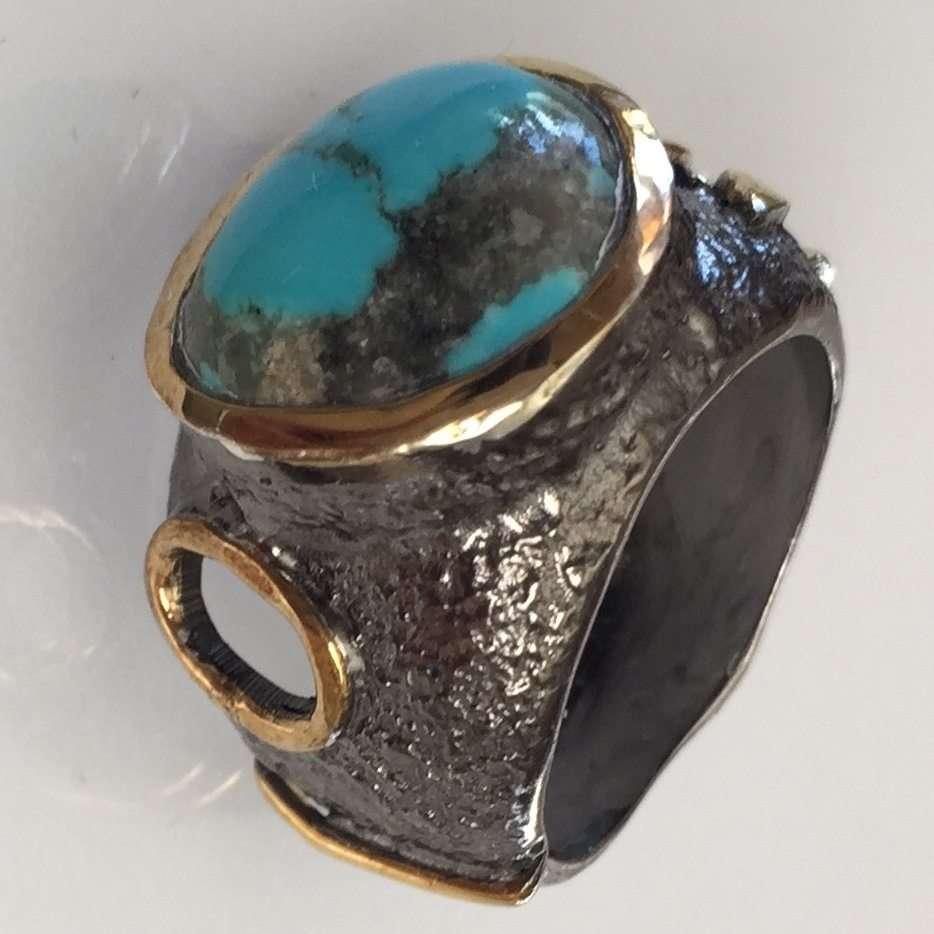 Blue Kingman Turquoise Stem Ring
