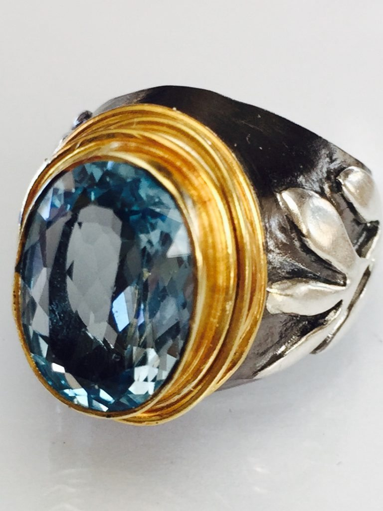 Blue Topaz Stem Ring from Stems and Gems