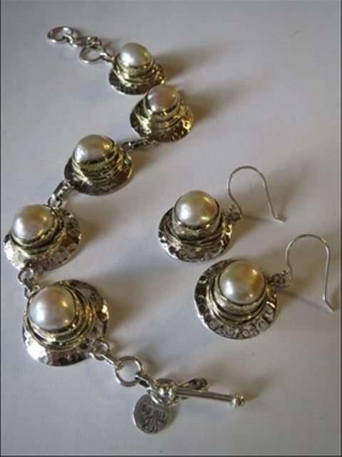 Pearl Earrings and Bracelet from Stems and Gems Designer, Marlena Winiarska