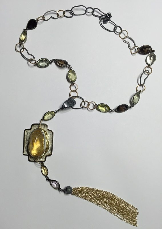Citrine Cross Tassel Necklace
