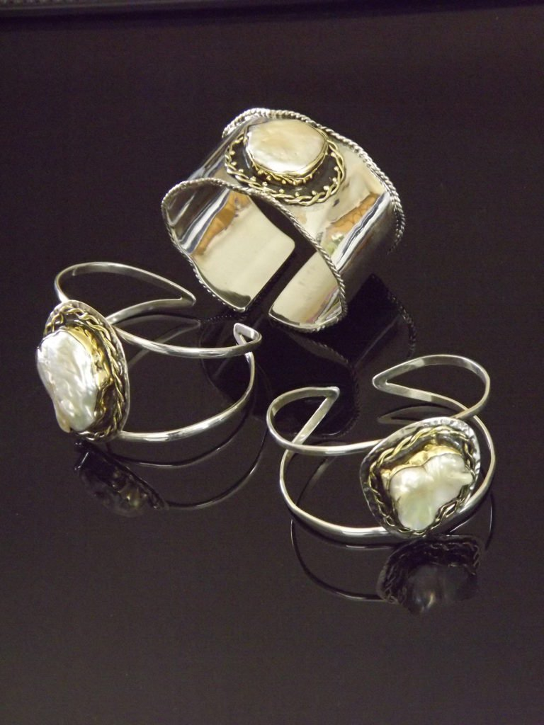Pearl Cuff and Bracelets by Stems and Gems