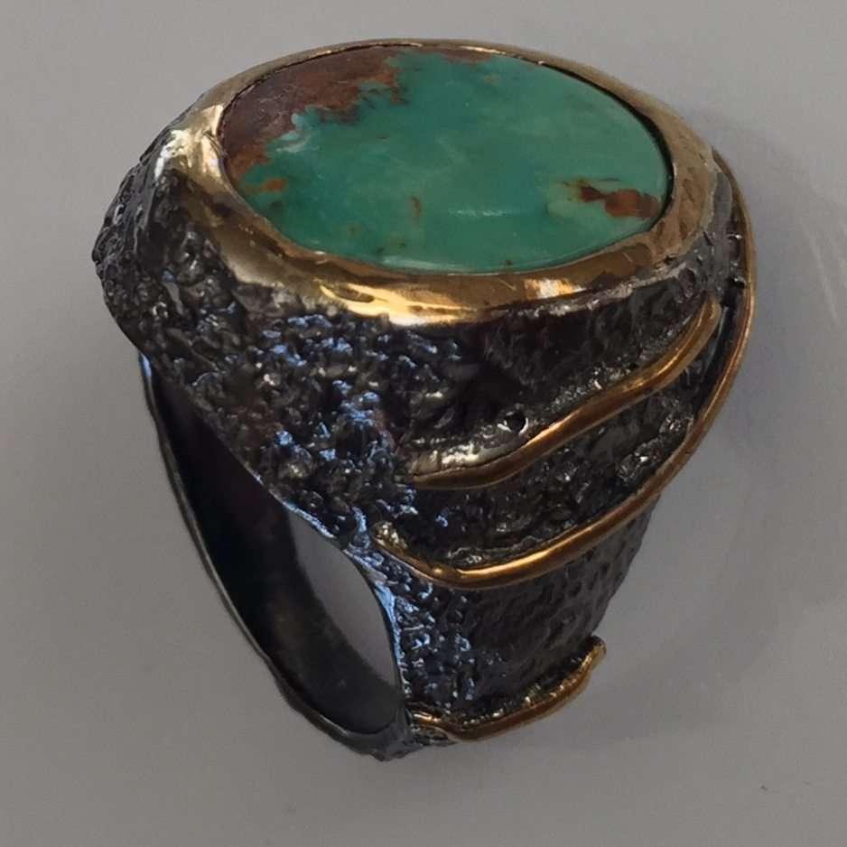 Green Kingman Turquoise Stem Ring
