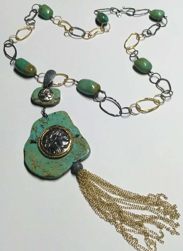 Kingman Turquoise Coin Tassel Necklace