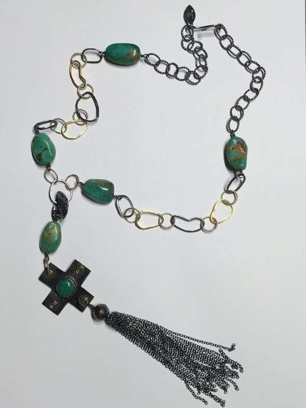 Kingman Turquoise Cross Tassel Necklace