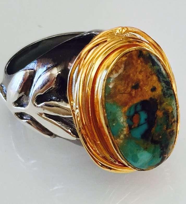 Kingman Turquoise Stem Ring Made By Marlena Winiarska
