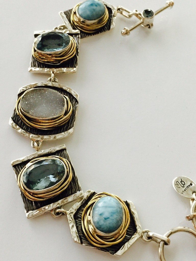 Bracelet Handmade With Larimar, Blue Topaz and Drusy