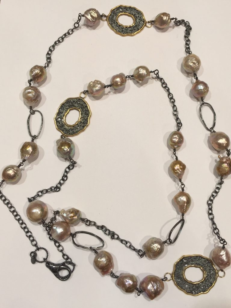 Stems and Gems Long Pearl Necklace