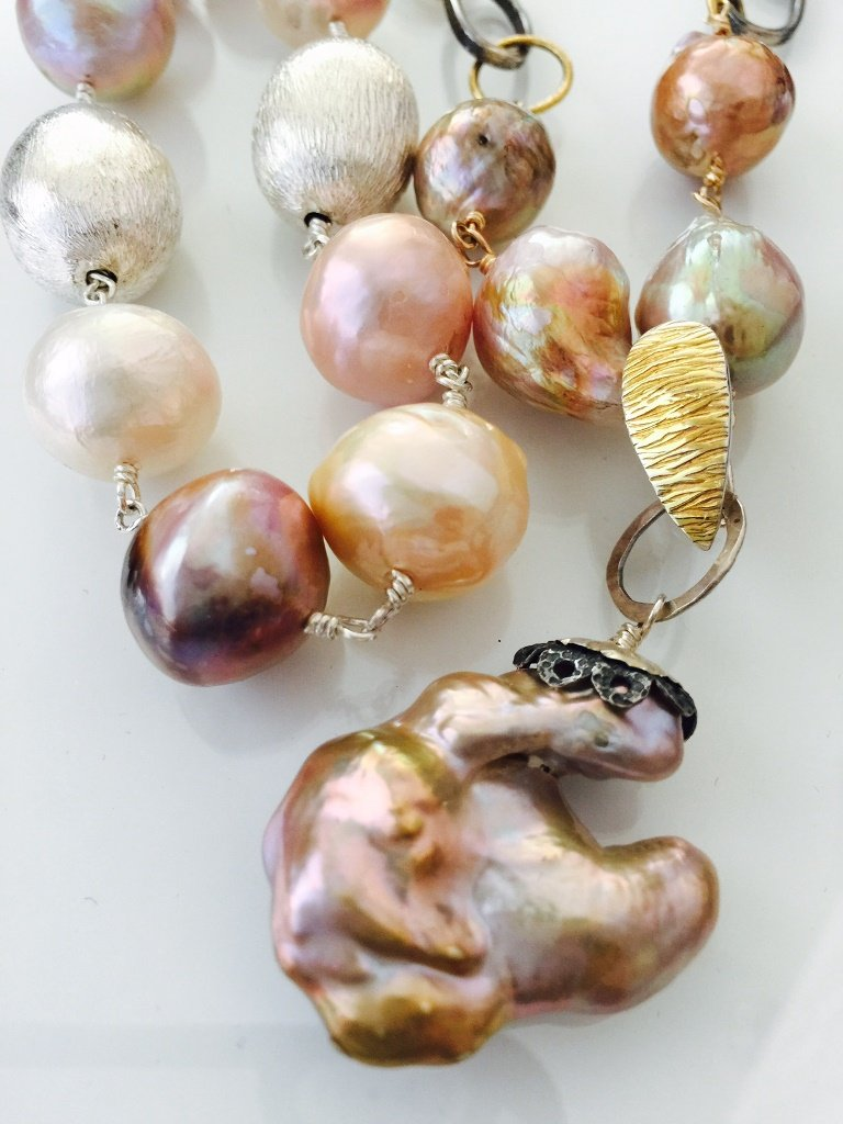 Pink Pearl Necklace from Stems and Gems