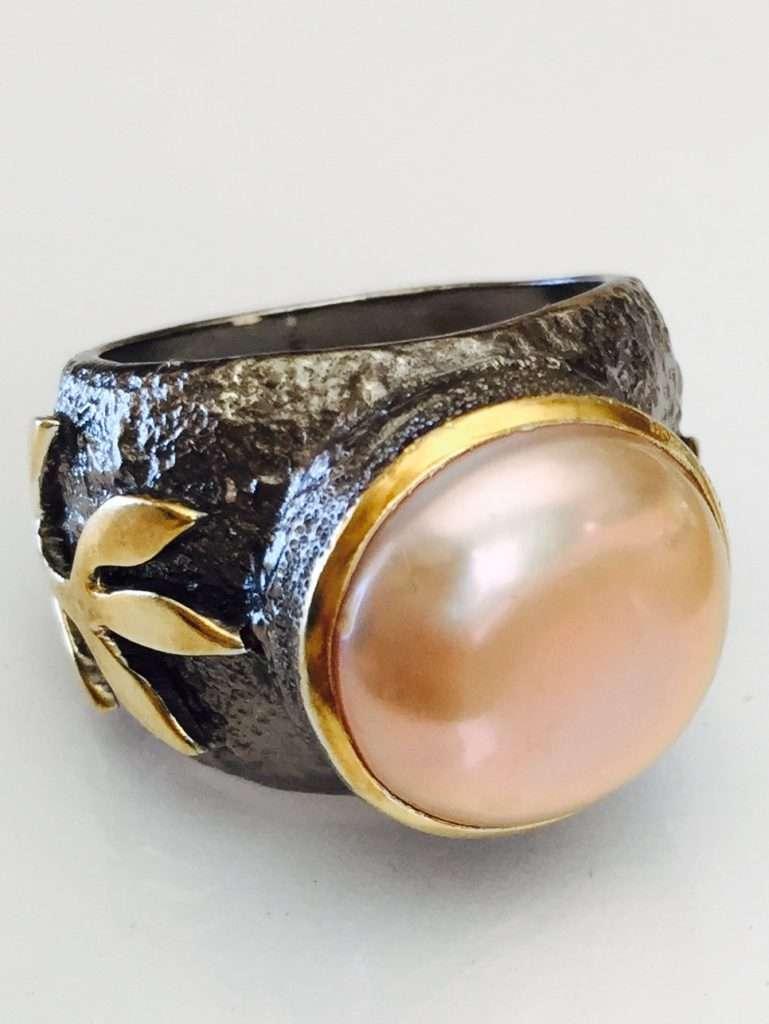 Stems and Gems' Peach Pearl Stem Ring