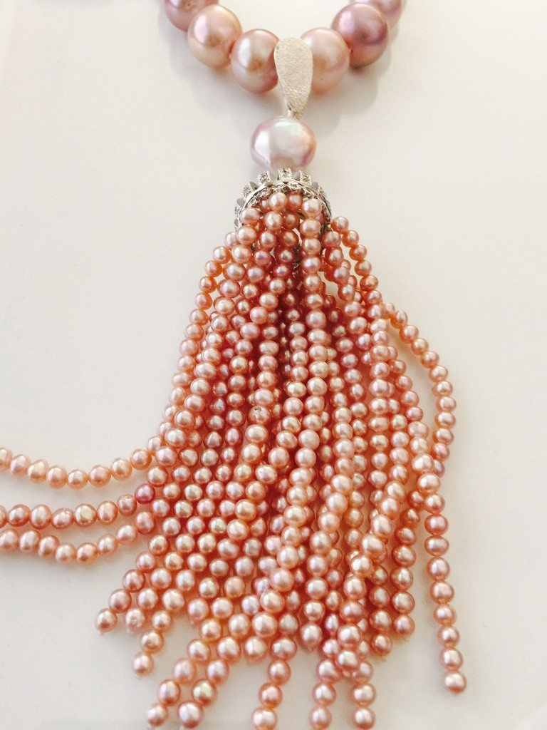 Pink Pearl Tassel Necklace from Stems and Gems