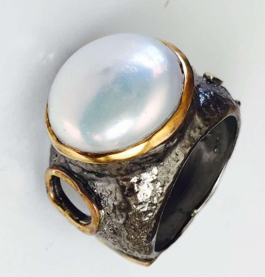 White Pearl Stem Ring by Marlena Winiarska