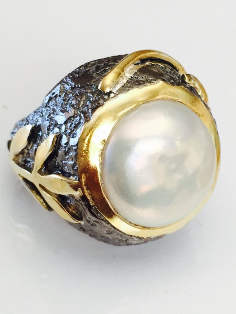 White Pearl Stem Ring from Marlena Winiarska of Stems and Gems