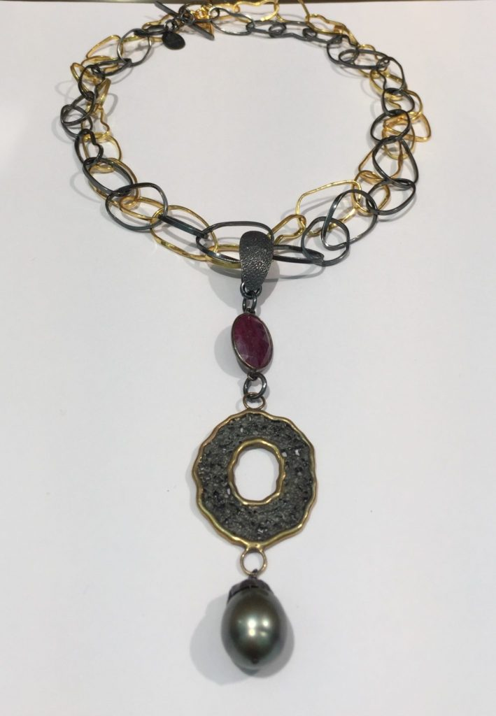 Black Tahitian Pearl and Saphire Enhancer Necklace