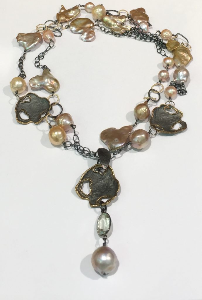 Fresh Water Pearl and Green Amethyst Enhancer Necklace