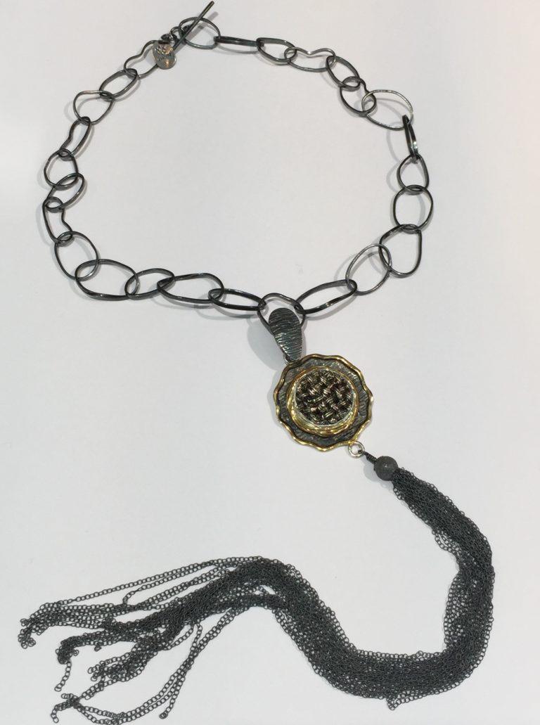 Vintage Button Tassel Necklace